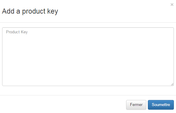 add product key button
